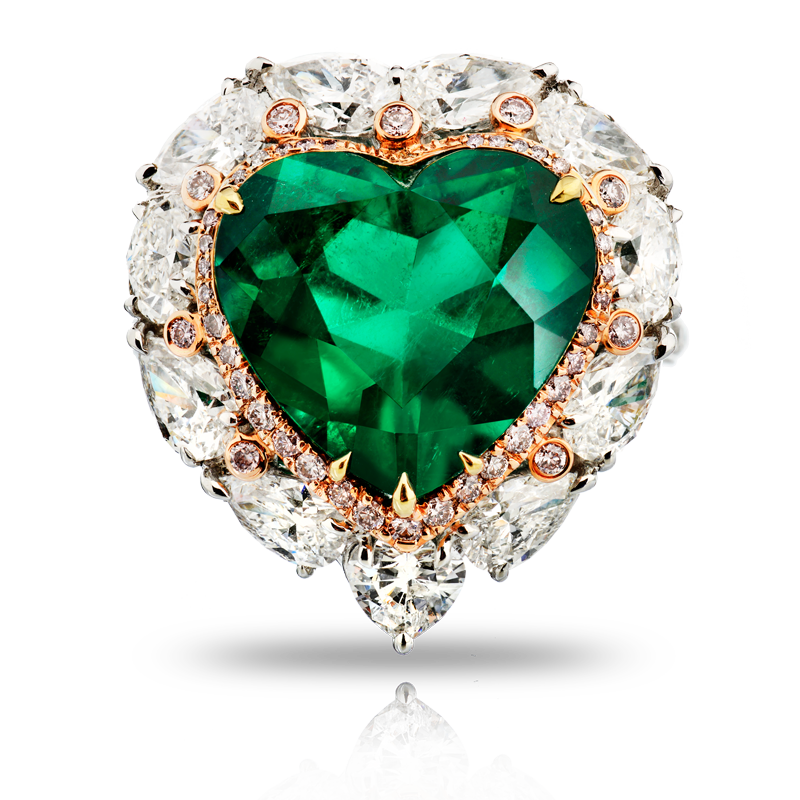 View Heart Shape Emerald and Diamond Ring