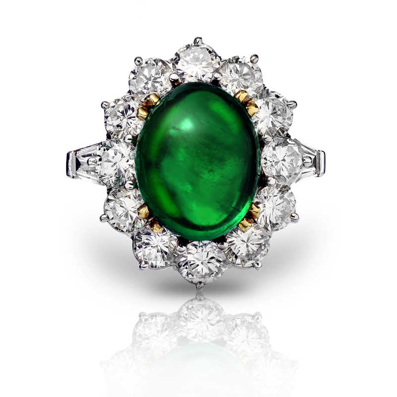 View Emerald Cabochon and Diamond Ring