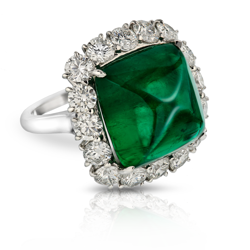 View Cabachon Emerald and Diamond Ring