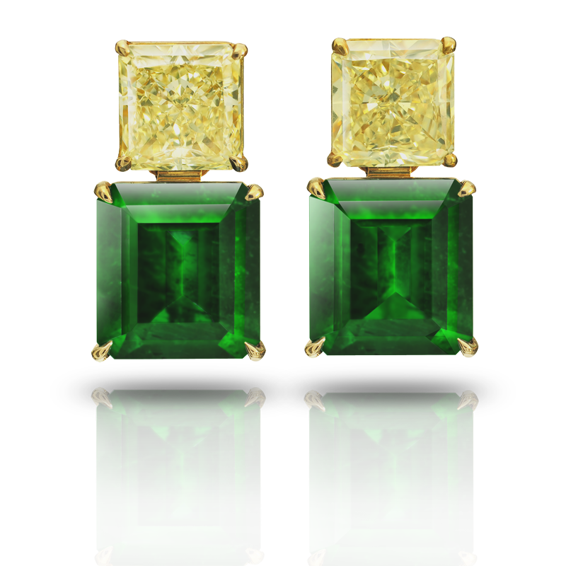 View Emerald and FY Diamond Earrings