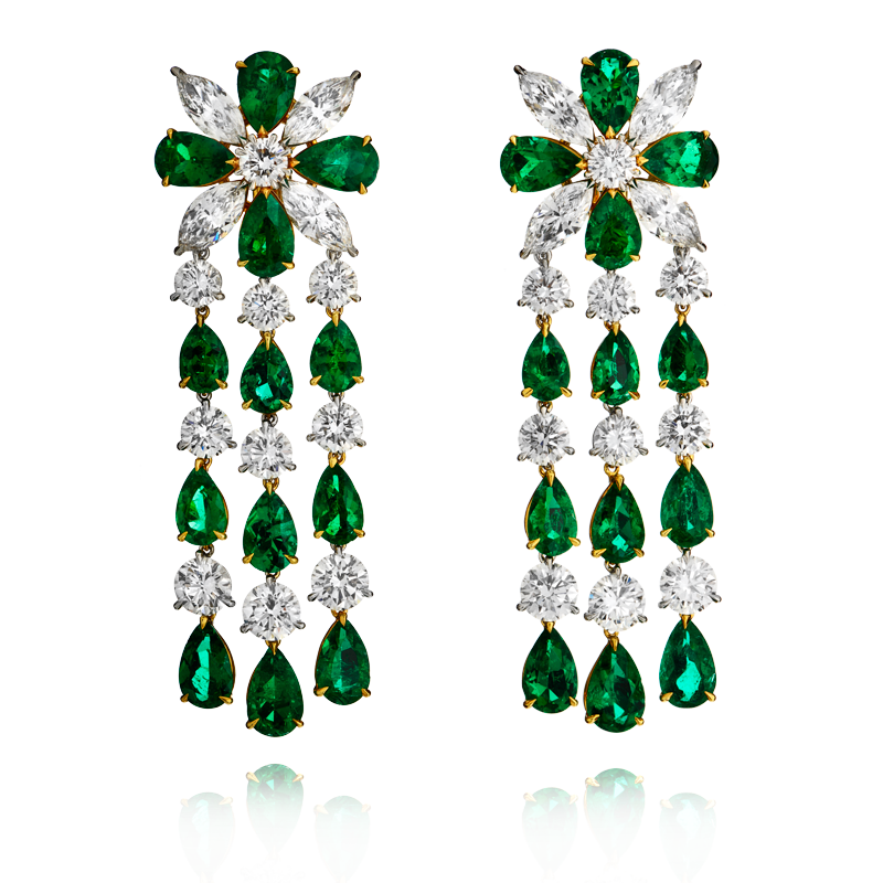 View Emerald and Diamond Earrings