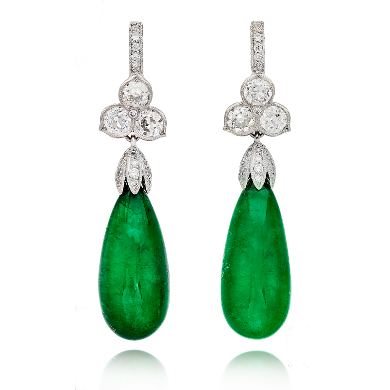 View Emerald Drop and Diamond Earrings