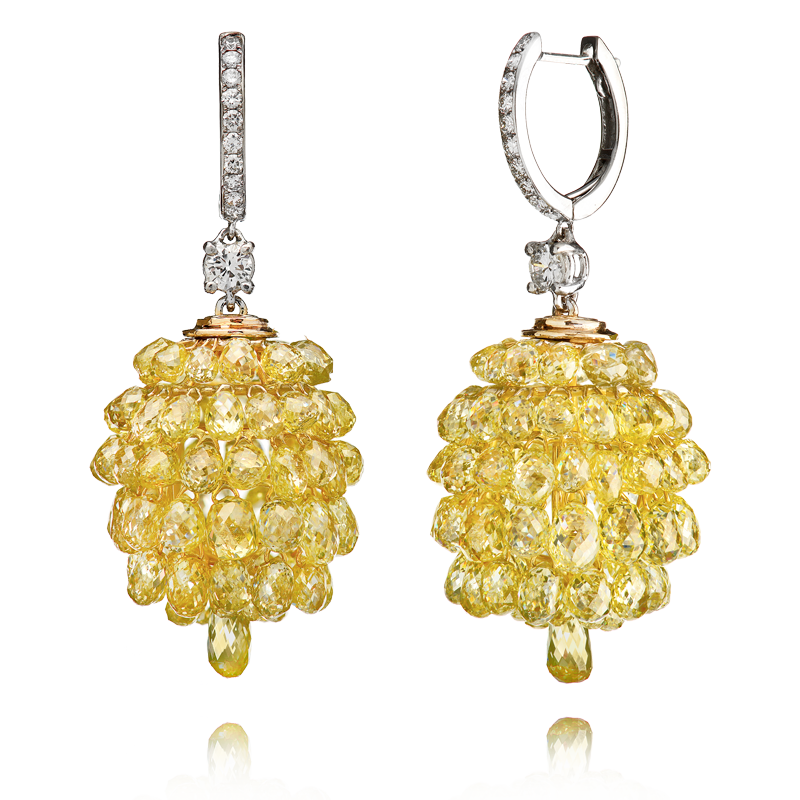 View Yellow Briolet Diamond Earrings