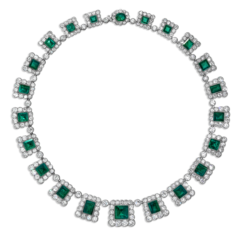 View Antique Emerald and Diamond Necklace