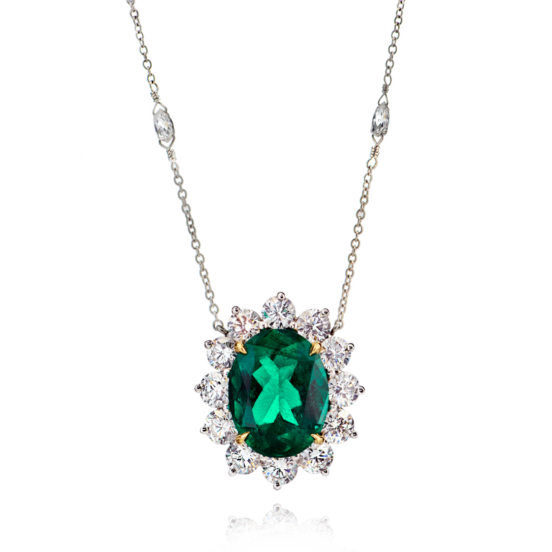 View Emerald and Diamond Pendant